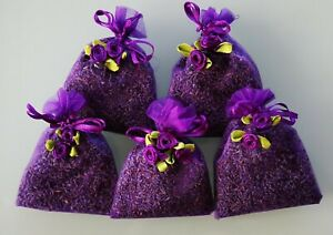 ORGANIC LAVENDER IN ORGANZA BAGS. 5 BAGS OF HIGH QUALITY LAVENDER FROM TASMANIA
