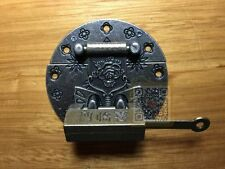 Chinese Old Lock Latch Butterfly & Fortune Blessing Lock Key For Jewelry Box