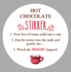 Round Hot Chocolate Stirrer Stickers Instruction Labels for Cocoa Gift Sticks