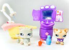 LPS Littlest Pet Shop Gray Persian #609 & Tan Short Hair Cat #1024 w/Accessories