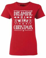 Dreaming Of A Wine Christmas Women's T-Shirt Funny Drinking Shirts
