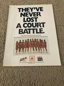 1996 TEAM USA WOMEN'S BASKETBALL Poster Print Ad DIANA TAURASI SHERYL SWOOPES