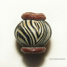 """1 amazing ancient islamic period folded glass collared """"eye"""" bead #5a"""