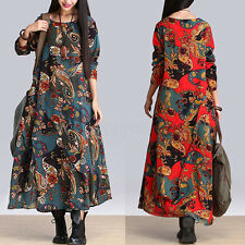 UK8-24 ZANZEA Women Ethnic Floral Cotton Linen Casual Baggy Long Maxi Dress Robe