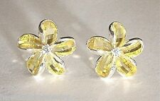 Faceted Crystal Plumeria Cz Stud Earrings 14mm Hawaiian Solid Ster Silver Yellow