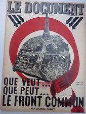 """Revue Le document. Rare. 7/22 1935 """"que veut le front commun"""""""