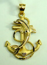 Brand New Solid 14K Yellow Gold Dolphin Mariners  Anchor Pendant
