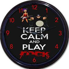 "Music Guitar - Keep Calm and Play Rock - Wall Clock Drums Musician Rocker 10"""