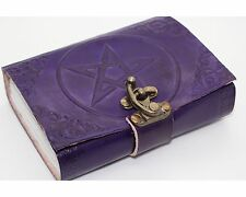 Purple Pentagram Handmade Book Of Shadows Pentacle Leather Wicca Journal Pagan
