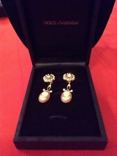 DOLCE & GABBANA Pearl Earrings With Cameo Woman Head Drop