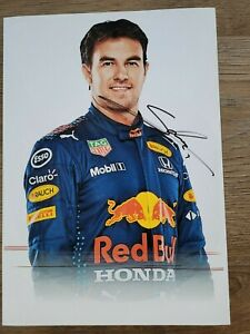 SERGIO PEREZ  HAND SIGNED A4 PICTURE FORMULA 1 F1 MEMORABILIA RED BULL RACING F1
