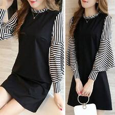 Korean Women Striped Long Sleeve Slim A Line Casual Tunic Short Mini Dress Black