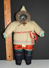 Vtg Mary Inuk Inuit Hand Made Eskimo Doll Carved Stone Face Cloth Body