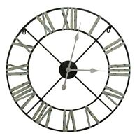 Large 60cm Vintage Distressed Metal Wall Clock with Roman Numerals Unique