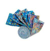 """RHYTHM EVOLUTION-BLUE~12-2.5"""" STRIPS~QT FABRIC~""""JELLY ROLL"""" Strippies~Abstract"""