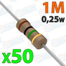 50x Resistencias 1M OHM 5% 1/4w 0,25w carbon film pelicula