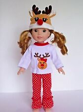 """Reindeer Outfit Hat Fits Wellie Wishers 14.5"""" American Girl Clothes"""