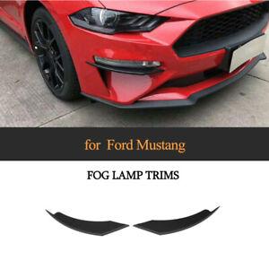 2xMatt Schwarz Front Splitter Flaps Spoiler Fins Canards Lippe für Ford Mustang