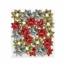25 Metallic Bows Gift Wrapping Present Gold Silver Red Xmas Christmas Decoration