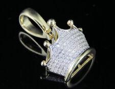 Men's 10K Yellow Gold Diamond Tiara Crown Pendant Charm 1/4Ct 0.9