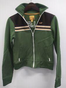 Hollister HCO Surf Juniors Olive Green Retro Track Athletic Jacket Full Zip GUC