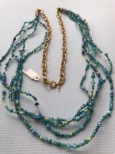 beaded handmade necklace blues and greens New, one of a kind beautiful