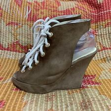 Opening Ceremony Stefania Brown Suede Lace Up Platform Wedges Heels Sz 38 8