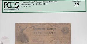 Williamsport Pa, Lycoming County Volunteers Fam Relief Hoober 451-31 RARE PCGS