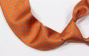 Kiton Bright Orange Floral 7-Fold Silk Handmade Necktie Tie