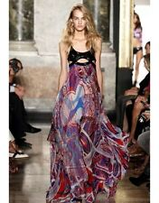 BNWT Emilio Pucci Sequin-Embellished Printed Silk Chiffon Gown Runway Dress