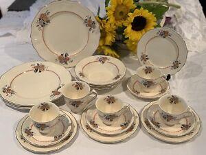 Art Deco Alfred Meakin Marigold Astoria Shape Dinner Set ~ Arandora Orange Black