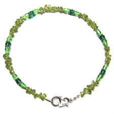 PERIDOT GEMSTONE POLISHED NUGGETS WITH CRYSTAL ACCENTS ANKLET ANKLE BRACELET