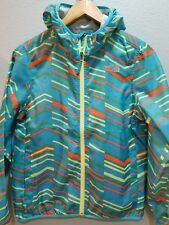 The North Face Hyvent Girls 14/16 teal blue print Wind Hoodie Jacket;
