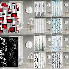 Waterproof Printed Shower Curtains + 12 Hooks Washable Fabric Bathroom Curtain