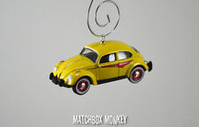 Classic Yellow Volkswagen Beetle Custom Christmas Ornament VW Bug Herbie 1/64