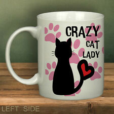 Crazy Cat Lady Paws Printed Mug White Funny Novelty Cup Gift Office Mugs