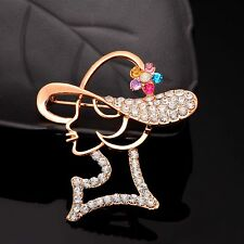Creative Elegant Lady Head Cubic Zirconia Gold Plated Pins Brooches Jewelry Gift