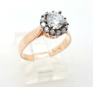 Womens 925 Sterling Silver Ring Size 6.75 Rose Gold White Topaz
