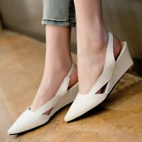 Womens Casual Pointed Toe Wedge Mid Heels Slingback Shoes Textured Slip On Pumps