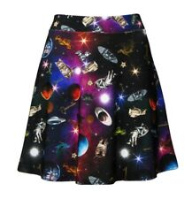 Space Galaxy Cat Stars Dragon Space Ship Planets Angel Print Flare Skater Skirt