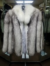 BEAUTIFUL BLUE FOX FULL SKIN FUR JACKET SAGA LABEL SIZE 8-10 MEDIUM FURS JACKETS