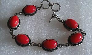 Detailed multi coral gem stone 925 silver toggle 7' bracelet