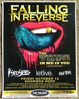 FALLING IN REVERSE 2012 Gig POSTER Seattle Washington Concert