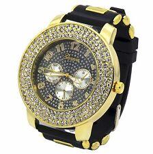 Mens Gold Black Iced Hip Hop Black Fashion Silicone Quartz Wrist Watch Geneva1