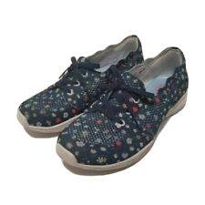 Skechers Womens 7M Athletic Shoes Blue White Floral Memory Foam Low Top Sneakers