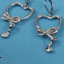 Womens Fashion Silver Plated Sweet Heart Rheinstones Charm Dangle Hook Earrings