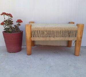 wooden stool handcrafted weaving style Teak wood amazing wooden stool for decor