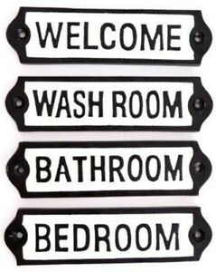 Cast Iron Plaques Room Sign Welcome Bathroom Bedroom Wash Room Home Decor.