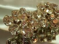 Stunning X Sparkley Pronged Rhinestone Cluster Clip Earrings Vintage 50's 92JN9