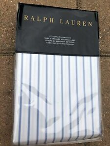 NEW RALPH LAUREN pair PILLOWCASES Standard Meadow Lane Brennon blue white stripe